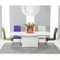 Modena 150cm White High Gloss Extending Dining Table with Malaga Chairs