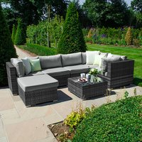 Clayton Rattan Grey Corner Sofa Set