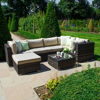 Clayton Rattan Brown Corner Sofa Set