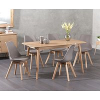 Newark 150cm Oak Dining Table with Demi Faux Leather Chairs