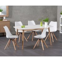 Product photograph showing Newark 150cm Oak And White Dining Table With Ophelia Round Leg Faux Leather Chairs