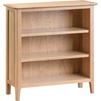 Product photograph showing Suri Oak Small Wide Bookcase