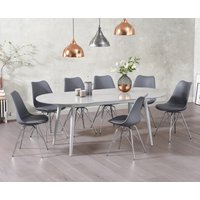 Product photograph showing Olivia Extending Light Grey High Gloss Dining Table With Calvin Chairs