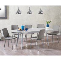 Read more about Olivia extending light grey high gloss dining table with hamburg fabric chairs