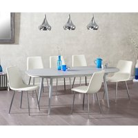 Product photograph showing Olivia Extending Light Grey High Gloss Dining Table With Hamburg Faux Leather Chairs