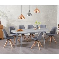 Olivia Extending Light Grey High Gloss Dining Table with Ophelia Fabric Round Leg Chairs