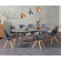 Product photograph showing Olivia Extending Dark Grey High Gloss Dining Table With Ophelia Faux Leather Round Leg Chairs