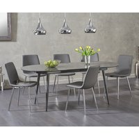Read more about Olivia extending dark grey high gloss dining table with hamburg faux leather chairs