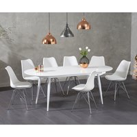 Read more about Olivia extending white high gloss dining table with calvin chairs