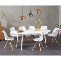 Olivia Extending White High Gloss Dining Table with Ophelia Faux Leather Round Leg Chairs