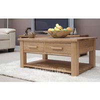 Product photograph showing Opus Oak Two-drawer Coffee Table