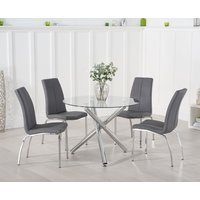 Orino 100cm Glass Dining Table with Cavello Chairs