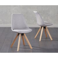 Ophelia Light Grey Fabric Square Leg Chairs (Pairs)