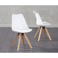 Ophelia White Faux Leather Square Leg Chairs (Pairs)