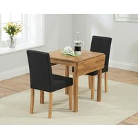 Oxford 70cm Solid Oak Extending Dining Table with Black Mia