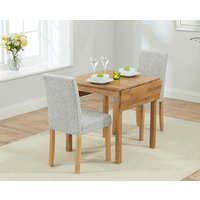 Oxford 70cm Solid Oak Extending Dining Table with Grey Mia Fabric Chairs
