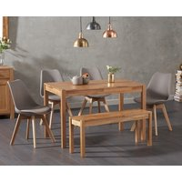 Product photograph showing Oxford 150cm Solid Oak Dining Table With Demi Faux Leather Chairs And Oxford Bench