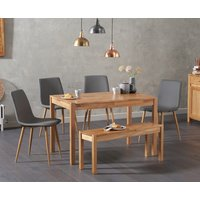 Product photograph showing Oxford 150cm Solid Oak Dining Table With Hamburg Faux Leather Chairs And Oxford Bench