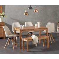 Product photograph showing Oxford 150cm Solid Oak Dining Table With Ophelia Square Leg Fabric Chairs And Oxford Bench