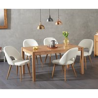Oxford 150cm Solid Oak Dining Table with Harrogate Faux
