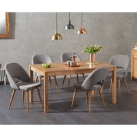 Oxford 150cm Solid Oak Dining Table with Harrogate Fabric