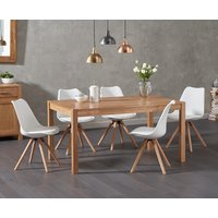 Oxford 150cm Solid Oak Dining Table with Ophelia Round Leg Faux Leather Chairs