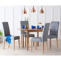 Oxford 70cm Solid Oak Extending Dining Table with Albany Gre