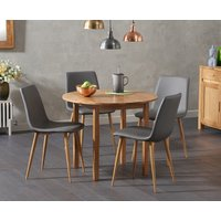Oxford 90cm Solid Oak Drop Leaf Extending Dining Table with Hamburg Faux Leather Chairs