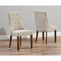 Product photograph showing Pacific Beige Fabric Dark Oak Leg Dining Chairs Pairs