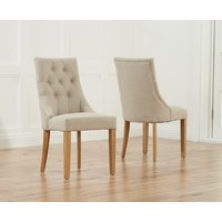 Product photograph showing Pacific Beige Fabric Oak Leg Dining Chairs Pairs