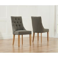 Product photograph showing Pacific Grey Fabric Oak Leg Dining Chairs Pairs