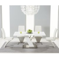 Read more about Palma 160cm white high gloss dining table with ivory-white hampstead z chairs