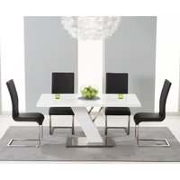 Product photograph showing Palma 160cm White High Gloss Dining Table With Malaga Chairs