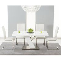 Product photograph showing Palma 160cm White High Gloss Dining Table With Ivory-white Malaga Chairs