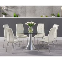 Product photograph showing Petra 180cm Oval Glass Dining Table With Calgary Chairs