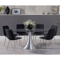 Read more about Petra 180cm oval glass dining table with hamburg fabric chrome leg chairs