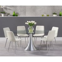 Read more about Petra 180cm oval glass dining table with hamburg faux leather chrome leg chairs