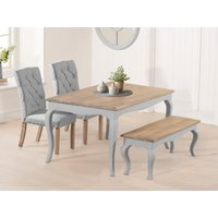 Product photograph showing Parisian 130cm Grey Shabby Chic Dining Table With Candice Grey Fabric Chairs And Bench