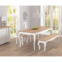 Product photograph showing Parisian 175cm Shabby Chic Dining Table With Chairs And Benches