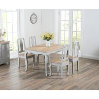 Product photograph showing Parisian 130cm Grey Shabby Chic Dining Table With Chairs