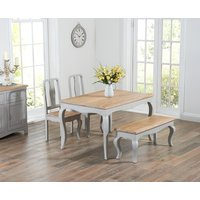 Product photograph showing Parisian 130cm Grey Shabby Chic Dining Table With Chairs And Benches