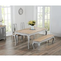 Product photograph showing Parisian 175cm Grey Shabby Chic Dining Table With Chairs And Benches