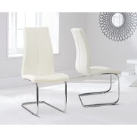 Product photograph showing Tarin Cream Faux Leather Hoop Leg Dining Chairs Pairs