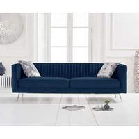 Product photograph showing Darbie Blue Velvet 3 Seater Sofa