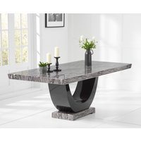 Product photograph showing Raphael 200cm Grey Pedestal Marble Dining Table