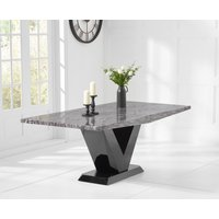 Product photograph showing Verbier 200cm Grey V Pedestal Marble Dining Table