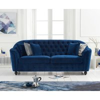 Product photograph showing Columbus Blue Velvet 3 Seater Sofa