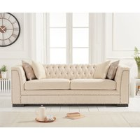 Product photograph showing Pedro Beige Linen 3 Seater Sofa