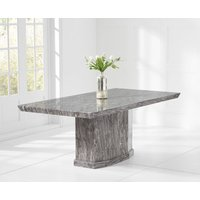 Product photograph showing Carvelle 200cm Dark Grey Pedestal Marble Dining Table