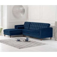 Product photograph showing Arena Blue Velvet Left Facing Chaise Sofa